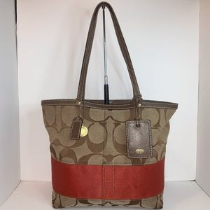 Coach Traditional Signature Stripe Tote Bag